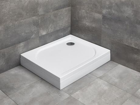 RADAWAY DELOS D 80 x 75cm pravá sprchová vanička obdĺžniková, so sifónom, nožičkami a čelným panelom, akrylát, 4D87514-03R