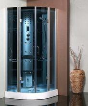 SAMPLUS 95cm hydromasážny sprchový box štvrťkruhový, rám chróm mat, sklo azuro, A 5224
