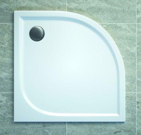 SANSWISS TRACY 90cm sprchová vanička štvrťkruhová, liaty mramor, biela, WAR55090004