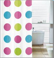 AQUALINE 180 x 180cm záves sprchový plastový, biela/farebné kruhy, ZV018