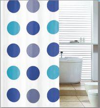 AQUALINE 180 x 180cm záves sprchový plastový, biela/modré kruhy, ZV017