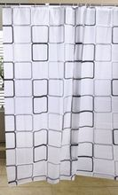 AQUALINE 180 x 180cm záves sprchový plastový, pravidelné štvorce, biela/šedá, ZV013
