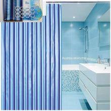 AQUALINE 180 x 180cm záves sprchový plastový, pruhy, modrá, ZV011