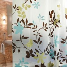 AQUALINE 180 x 180cm záves sprchový plastový, rastliny, biela/hnedá/tyrkysová, ZV012