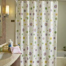 AQUALINE 180 x 200cm záves sprchový plastový, kvety, viacfarebný, ZV014