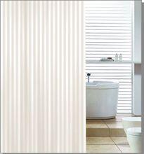 AQUALINE 180 x 200cm záves sprchový textilný, pruhy, béžová, ZP003