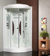 SAMPLUS 95cm hydromasážny sprchový box štvrťkruhový, rám biely, sklo grape, A 5219 B 950 N