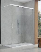 SANSWISS CADURA CAW2 100cm pravý walk-in sprchový kút / sprchová stena samostatná s posuvným dielom, profil chróm, sklo číre, CAW2D1005007